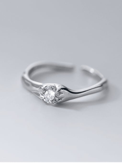 silver 925 Sterling Silver Cubic Zirconia Geometric Vintage Band Ring