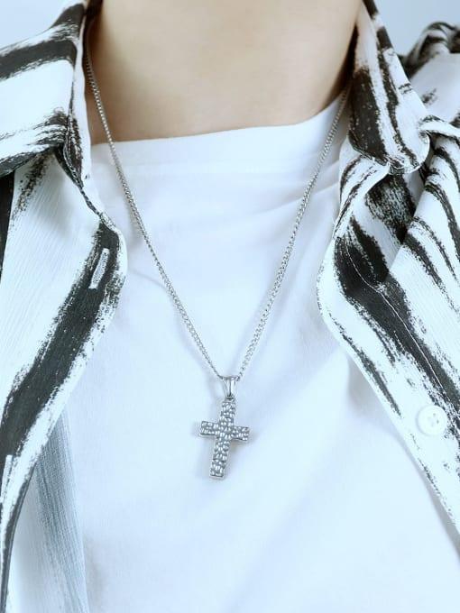 Open Sky Titanium Steel Cross Hip Hop Regligious Necklace 1
