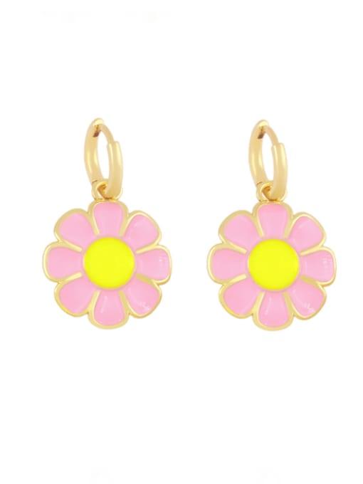 Pink Brass Enamel Flower Minimalist Huggie Earring