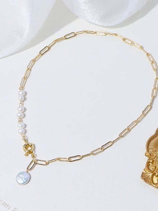 RAIN Brass Freshwater Pearl Geometric Minimalist Necklace 2