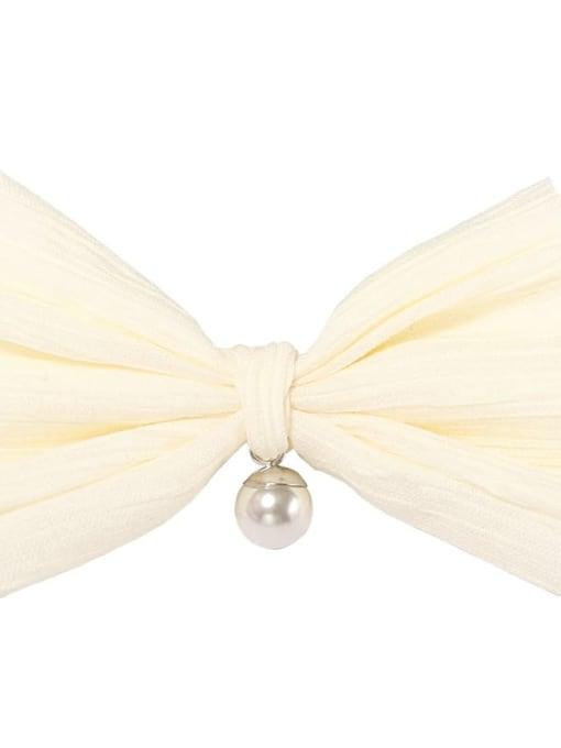 2 cream yellow Alloy Cotton Cute Bowknot  Multi Color Hair Barrette