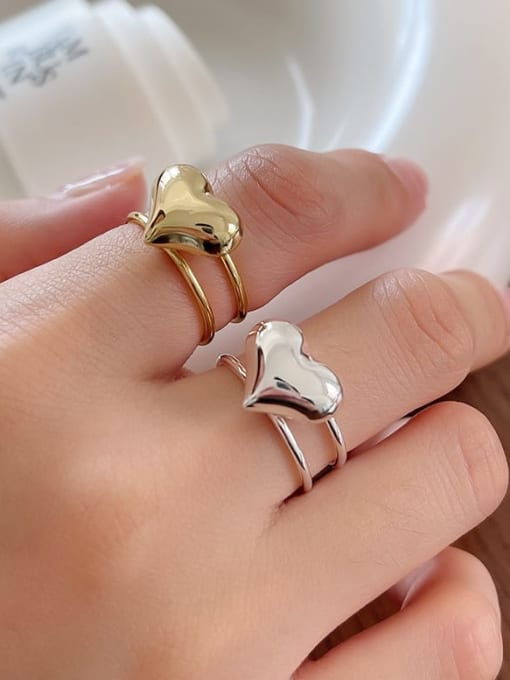 Boomer Cat 925 Sterling Silver Heart Minimalist Stackable Ring 1