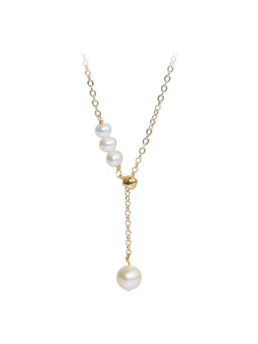 RAIN Brass Freshwater Pearl Tassel Vintage Lariat Necklace