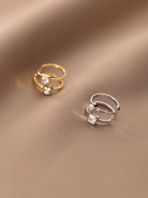 Rosh 925 Sterling Silver Rhinestone Geometric Minimalist Clip Earring 0