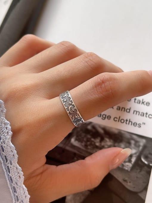 Star ring j48 2.4G 925 Sterling Silver Irregular Vintage Band Ring