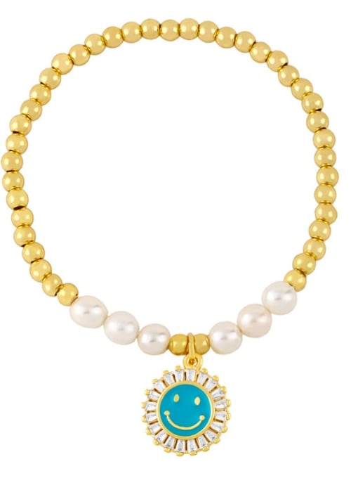 blue Brass Imitation Pearl Enamel Smiley Trend Beaded Bracelet