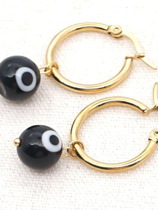 C E200004B Stainless steel  MGB Bead Multi Color Evil Eye Bohemia Huggie Earring