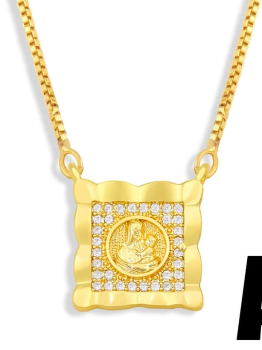 A Brass Cubic Zirconia Religious Vintage Necklace