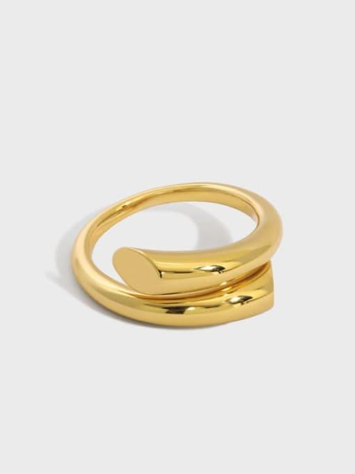 DAKA 925 Sterling Silver Irregular Minimalist Stackable Ring 0