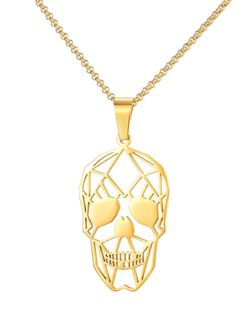 1748 Gold Plated Steel Necklace Titanium Steel Hollow Skull Hip Hop Necklace