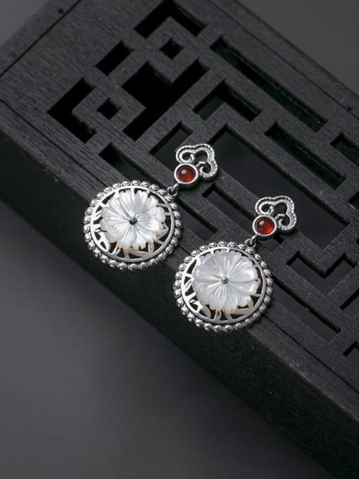Rosh 925 Sterling Silver Shell Flower Vintage Drop Earring 1