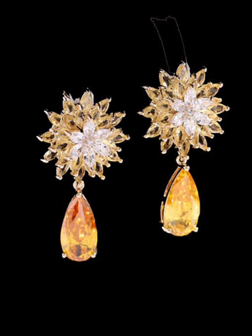 yellow Brass Cubic Zirconia Water Drop Trend Drop Earring