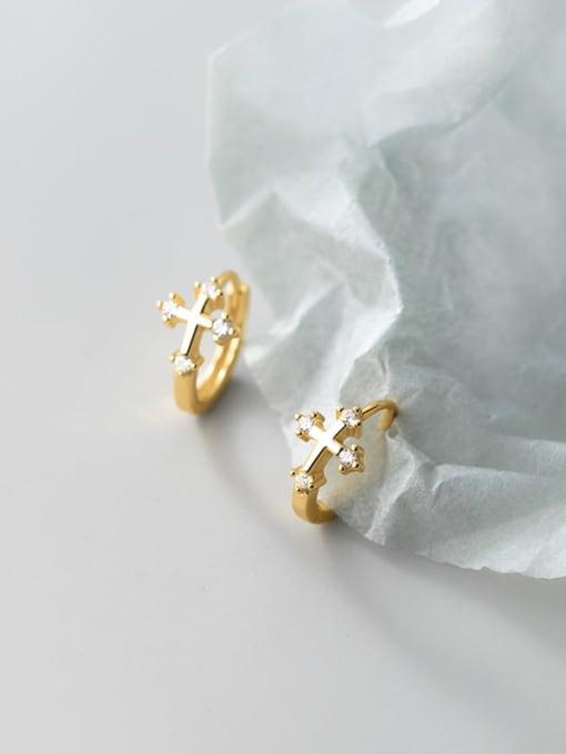 Rosh 925 Sterling Silver Cross Minimalist Huggie Earring 0