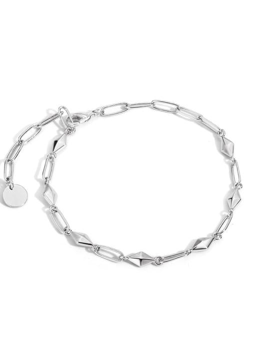 Rhodium rhombic plain gold bracelet Brass Geometric Minimalist Link Bracelet
