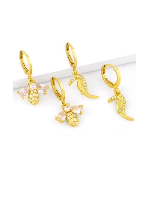 CC Brass Cubic Zirconia Bee Vintage Huggie Earring