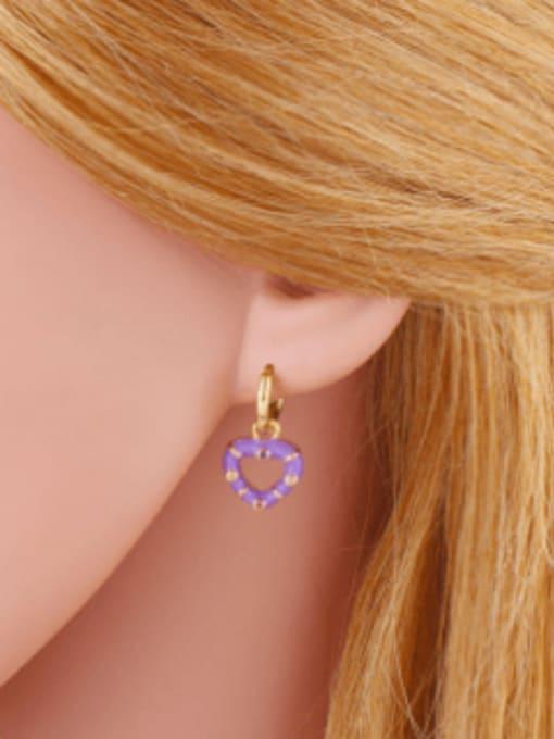 CC Brass Enamel Heart Vintage Huggie Earring 1