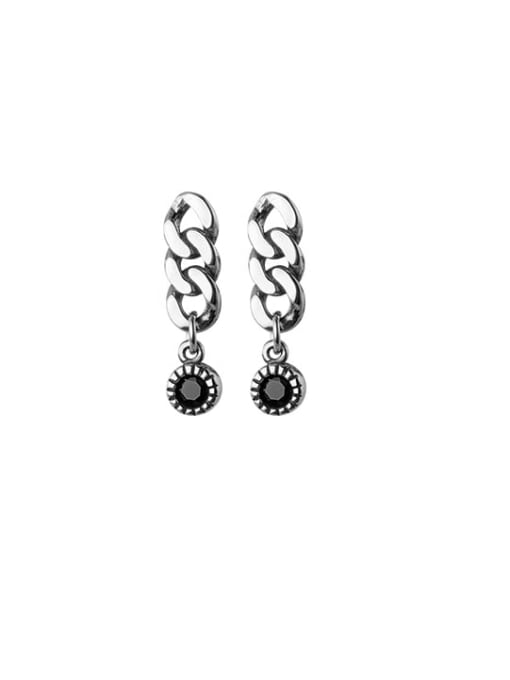 Rosh 925 Sterling Silver Cubic Zirconia Geometric Chain  Vintage Drop Earring 3