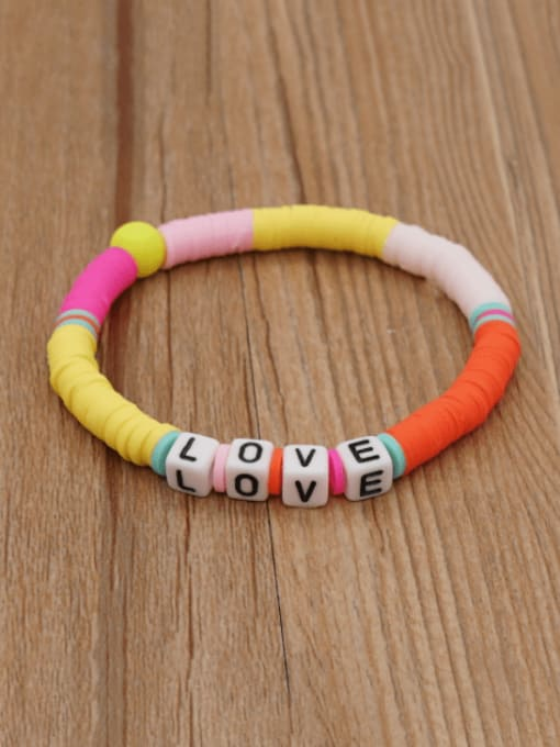 Roxi Stainless steel Multi Color Polymer Clay Letter Bohemia Stretch Bracelet 2