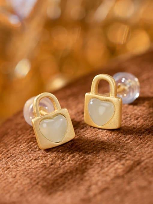 DEER 925 Sterling Silver Jade Locket Vintage Huggie Earring 3
