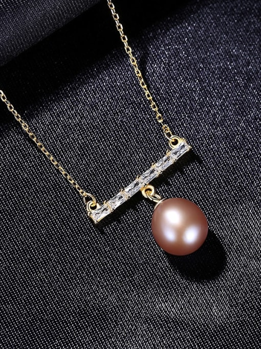 Pueple 8D05 925 Sterling Silver Freshwater Pearl Geometric Dainty Necklace