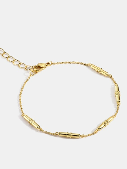 CHARME Brass Cubic Zirconia Irregular Minimalist Link Bracelet