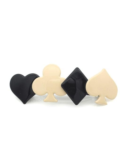 HUIYI Cellulose Acetate Minimalist Heart Zinc Alloy Spring clip Hair Barrette 1