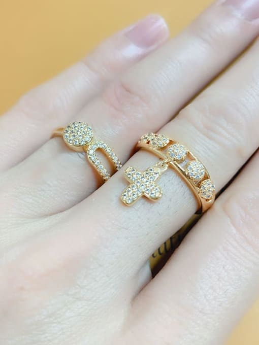 CC Brass Cubic Zirconia Cross Dainty Band Ring 1