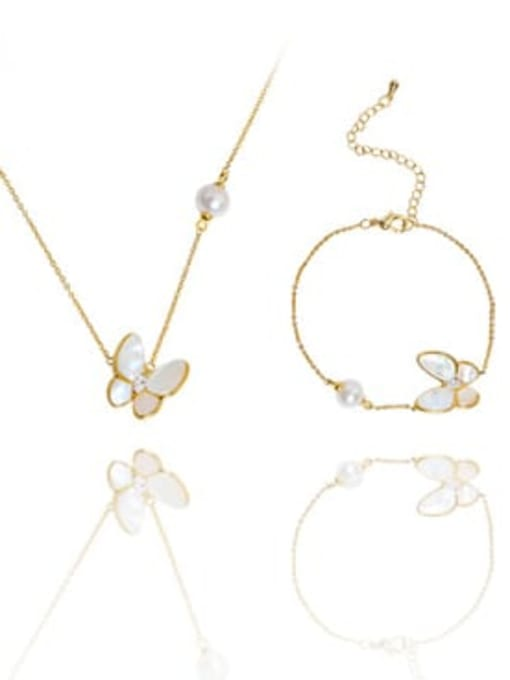 RAIN Brass Shell Cute Butterfly  Braclete and Necklace Set 0