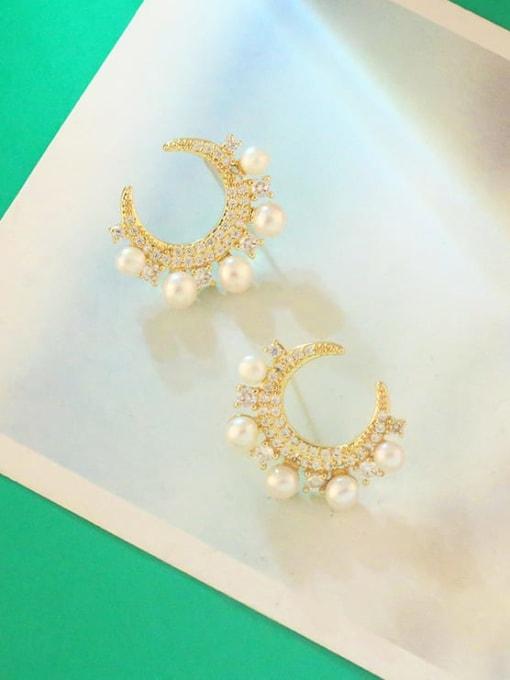 CC Brass Cubic Zirconia Moon Dainty Stud Earring 2