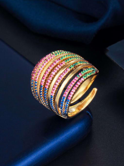 L.WIN Brass Cubic Zirconia Geometric Luxury Stackable Ring 1