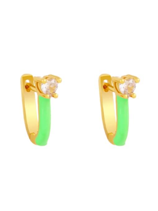 CC Brass Multi Color Enamel Heart Vintage Huggie Earring 3