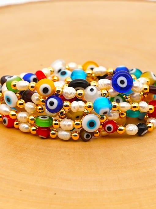 Roxi Stainless steel MGB Bead Multi Color Evil Eye Bohemia Beaded Bracelet