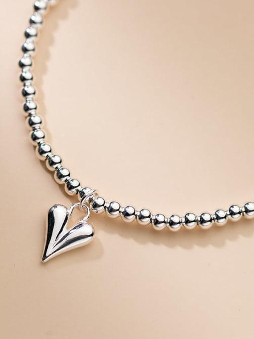 Rosh 925 Sterling Silver Heart Minimalist Beaded Chain Bracelet 1