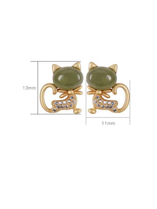 DEER 925 Sterling Silver Jade Cat Cute Stud Earring 2