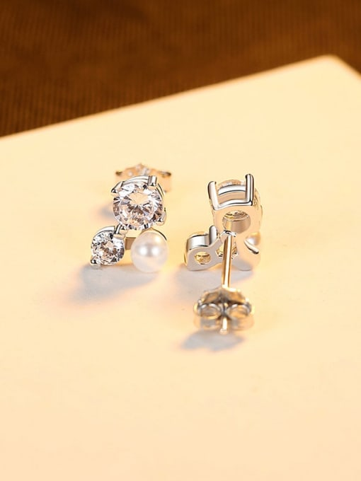 platinum 925 Sterling Silver Cubic Zirconia Flower Cute Stud Earring