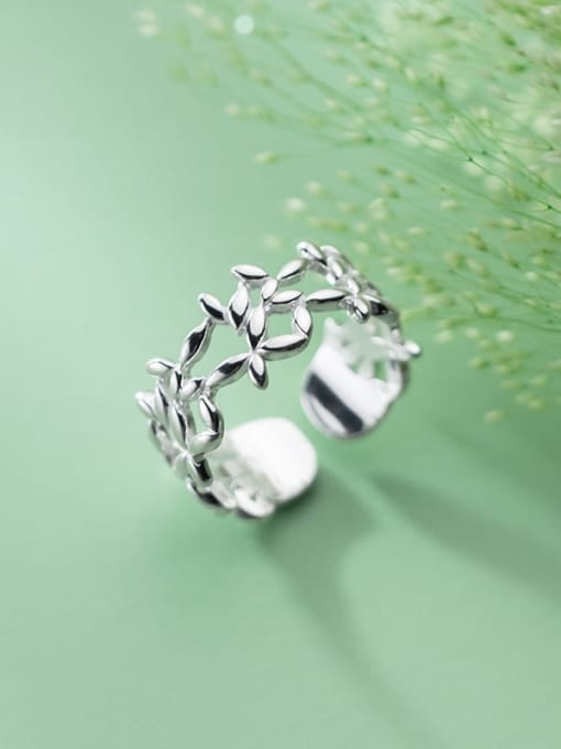 Rosh 925 Sterling Silver Hollow Flower Minimalist Band Ring 2