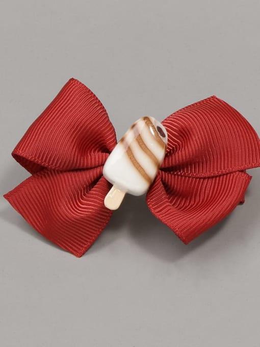 3 chocolate ice cream Alloy Yarn Cute Bowknot  Multi Color Hair Barrette