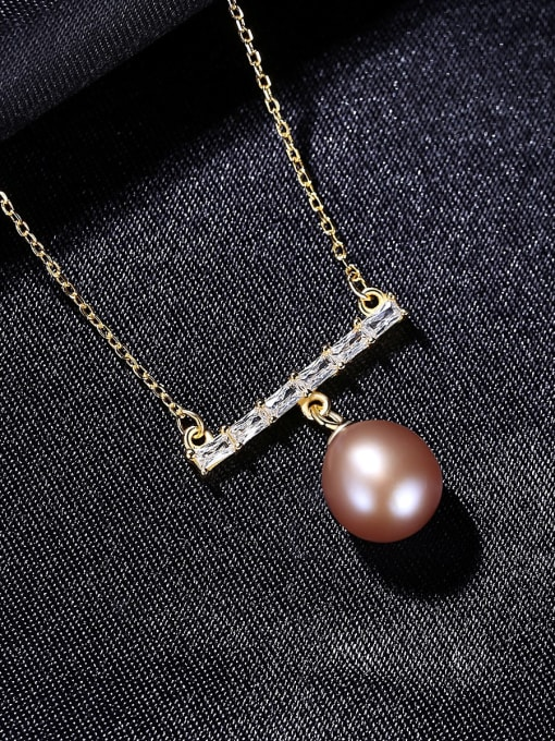CCUI 925 Sterling Silver Freshwater Pearl Geometric Dainty Necklace 2