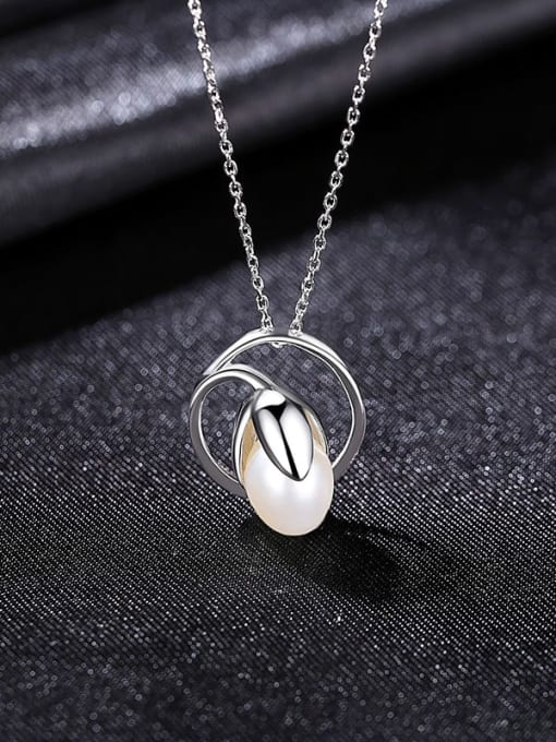 White 8C07 925 Sterling Silver Freshwater Pearl Geometric Minimalist Necklace