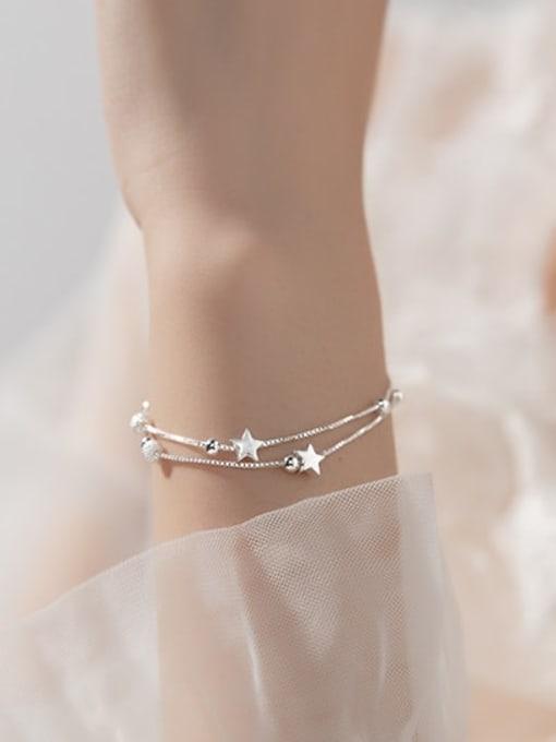 Rosh 925 Sterling Silver Bead Star Minimalist Strand Bracelet 2