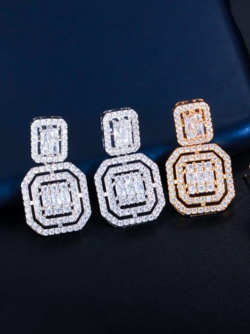 L.WIN Brass Cubic Zirconia Geometric Luxury Drop Earring 4