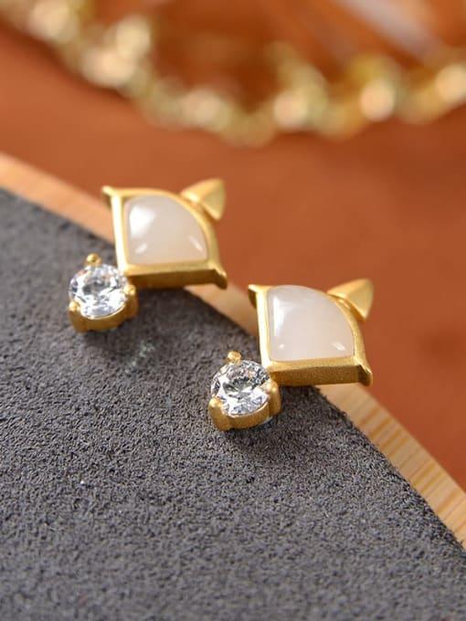 White jade (a pair) 925 Sterling Silver Jade Triangle Vintage Stud Earring
