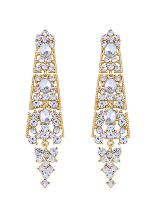 golden Alloy Rhinestone Geometric Bohemia Drop Earring