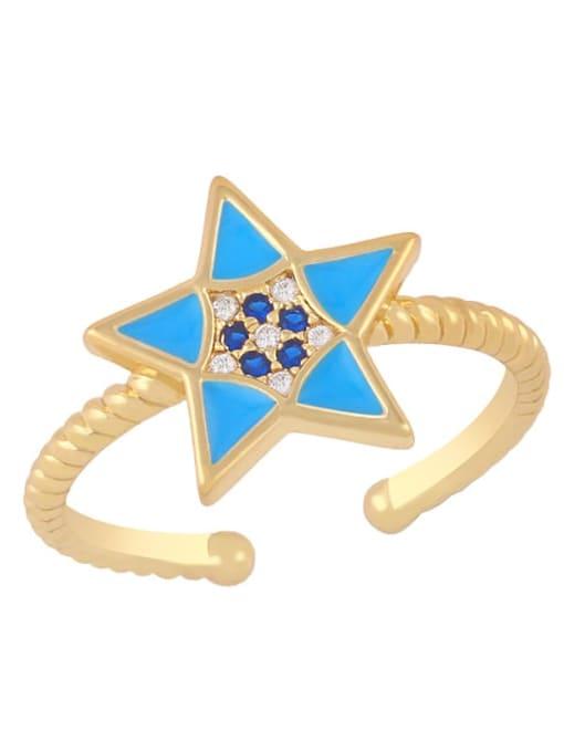 blue Brass Enamel Star Minimalist Band Ring