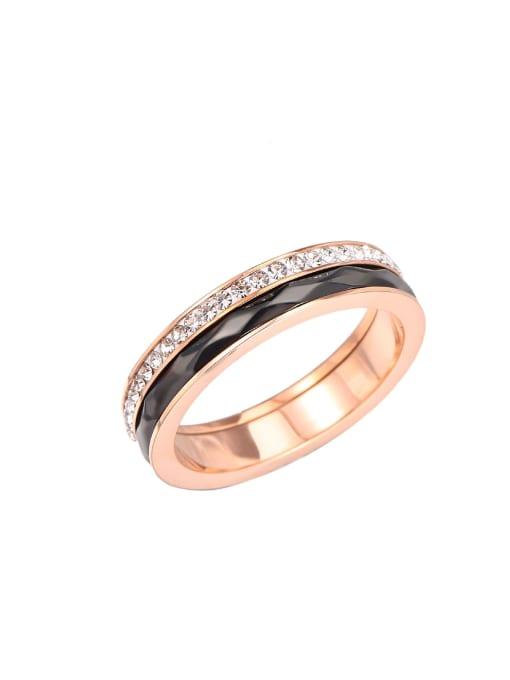 rose gold Titanium Steel Enamel Rhinestone Round Minimalist Band Ring