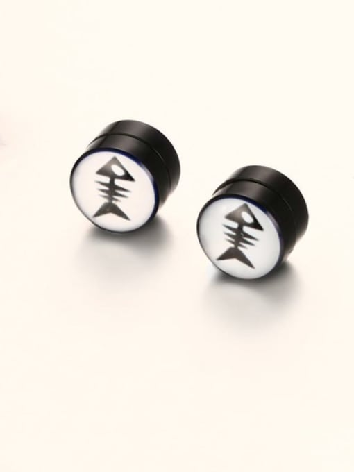 CONG Titanium Steel Enamel Geometric Hip Hop Stud Earring 3