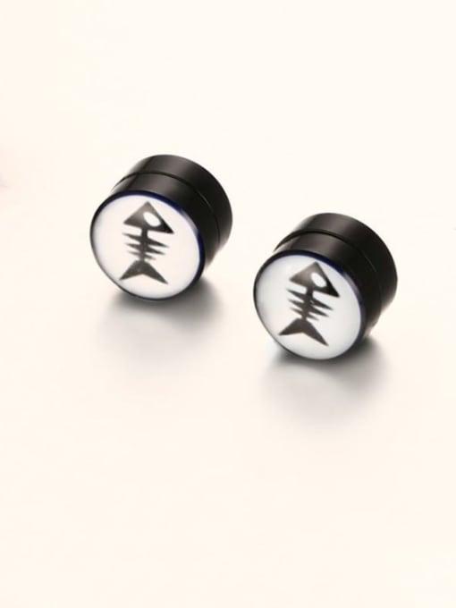 Fishbone ear clip Titanium Steel Enamel Geometric Hip Hop Stud Earring