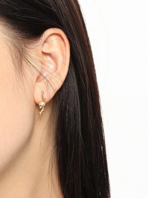 DAKA 925 Sterling Silver Rhinestone Geometric Vintage Stud Earring 3