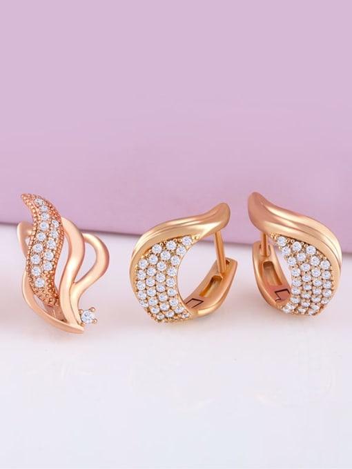 CC Brass Cubic Zirconia Irregular Bohemia Stud Earring