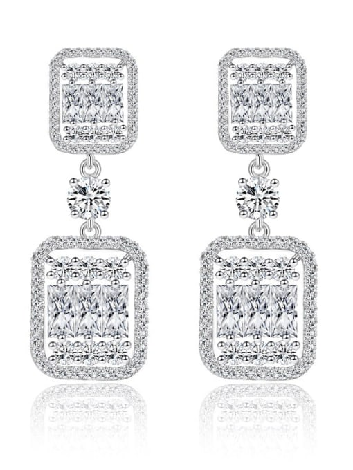 L.WIN Brass Cubic Zirconia Luxury Geometric Earring and Necklace Set 3